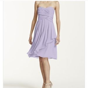 David's Bridal Strapless Crinkle Chiffon Dress